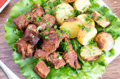 Potatoes and meat, stew Stock Photo
