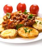 Potatoes with meat tomato sauce Royalty Free Stock Photography