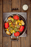 Potatoes with meat and tomatoes Stock Images