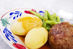Potatoes, meat and vegetables; a traditional Dutch dinner Royalty Free Stock Photos