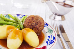 Potatoes, meat and vegetables; a traditional Dutch dinner Stock Photos
