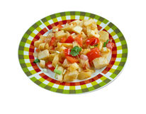 Potatoes O'Brien. Dish of pan-fried potatoes along with green and red bell peppers Royalty Free Stock Photo