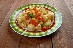 Potatoes O'Brien. Dish of pan-fried potatoes along with green and red bell peppers Stock Photos