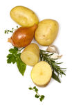 Potatoes Onions Garlic and Herbs over White. Raw potatoes, whole and cut, with brown onion, garlic cloves and herbs,  on white background Stock Images