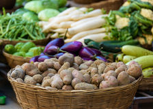 Potatoes and other vegetables for sale Royalty Free Stock Photography