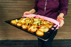 Potatoes out of the oven Royalty Free Stock Images