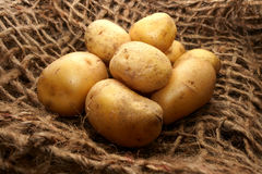 Potatoes over jute Royalty Free Stock Photo