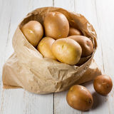 Potatoes in paper bag Royalty Free Stock Photos