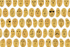 Potatoes pattern with cartoon face Royalty Free Stock Image