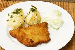 Potatoes, pork chop and salad with cucumbers and cream Royalty Free Stock Photos