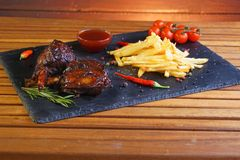 Potatoes and pork ribs Stock Image