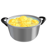 Potatoes in a pot, vector illustration Royalty Free Stock Photography