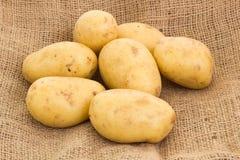 Potatoes on potato sack Stock Photo