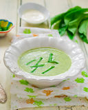 Potatoes puree soup  with a ramson Royalty Free Stock Photo
