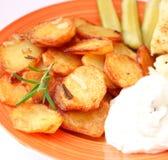 Potatoes with quark. Some fresh potatoes with quark Royalty Free Stock Photo