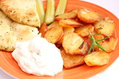 Potatoes with quark. Some fresh potatoes with quark Royalty Free Stock Images