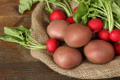 Potatoes  with radishes. Red potatoes on burlap with radishes on wooden brown background Royalty Free Stock Photography