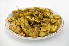 Potatoes Roasted Fingerling. Roasted FIngerling Potatos with Green onions, roasted shallots, and Roasted Garlic Stock Photography