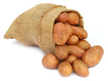 Potatoes in a sack bag Royalty Free Stock Photos