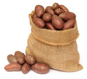 Potatoes in a sack bag over white background Stock Photos