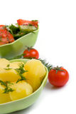 Potatoes and salad Royalty Free Stock Image