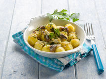Potatoes salad with anchovies Stock Photos