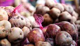 Lots of potatoes for sale royalty free stock images