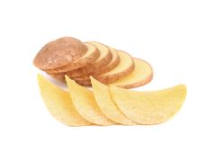 Potatoes slices and chips Stock Image