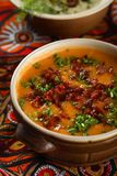Potatoes soup with red pepper Royalty Free Stock Photos