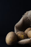 Potatoes Spilling from Hessian Sack Stock Photo