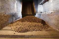 Potatoes in storage house Stock Photo