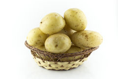 Potatoes in straw dish Royalty Free Stock Photography