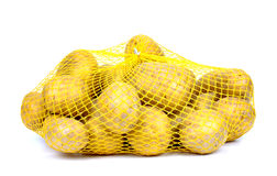 Potatoes in string-bag, Isolated, Stock Images