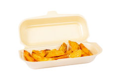 Potatoes on styrofoam container royalty free stock photos
