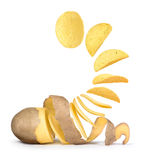 Of potatoes turns into potato chips Stock Images