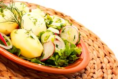 Potatoes  with  vegetable salad Royalty Free Stock Photography