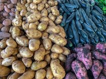 Potatoes and vegetables for sale at a Moroccan souk royalty free stock photos