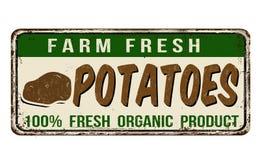 Potatoes vintage rusty metal sign Royalty Free Stock Photo
