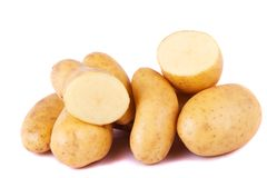 Potatoes on white. Close up view of some potatoes isolated on a white background royalty free stock images