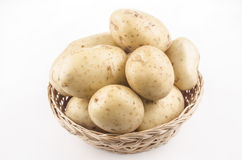 Potatoes in a wicker basket Royalty Free Stock Photo