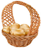 Potatoes in a wicker basket Royalty Free Stock Images