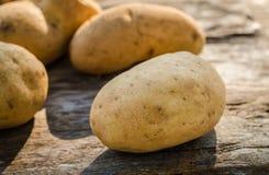 Potatoes on wood stock photo