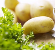 Potatoes on a wooden board Stock Photos