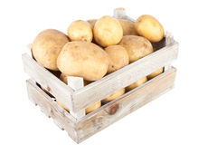 Potatoes in a wooden crate Stock Image