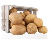 Potatoes in a wooden crate Royalty Free Stock Images