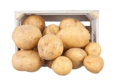 Potatoes in a wooden crate Royalty Free Stock Photo