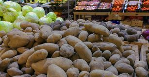 Potatos display at the grocery store