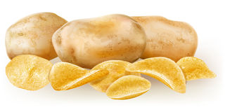 Potatos and potato chips Stock Image