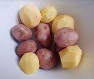 Potatos. With or without bark fresh vegetables Royalty Free Stock Images