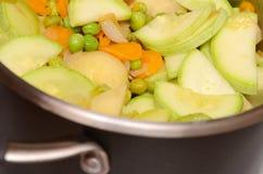 Potatos, raccord en caoutchouc, pois, moelle /courgette, oignon - sont c Photo libre de droits